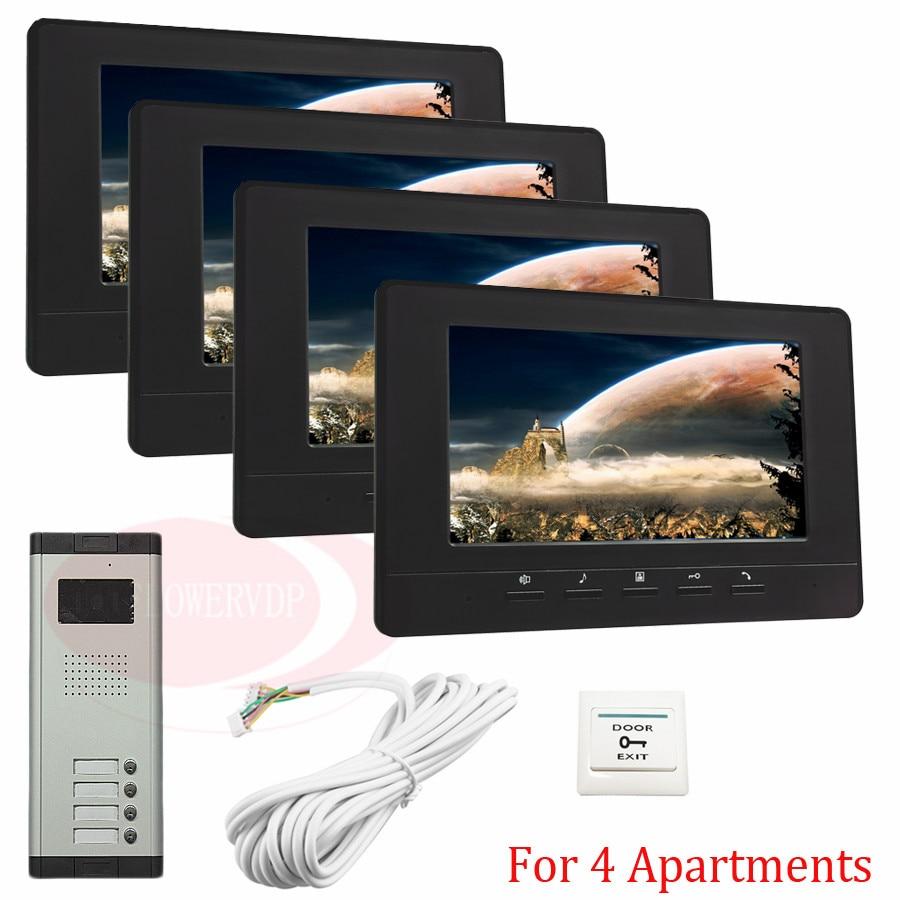 For 4 Apartments New Wired 7 TFT Screen Video Door Phone Intercom Entry System With Infared Night Vision In Stock! centrum точилка механическая цвет черный