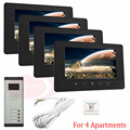 """For 4 Apartments New Wired 7"""" TFT Screen Video Door Phone Intercom Entry System With Infared Night Vision In Stock!"""