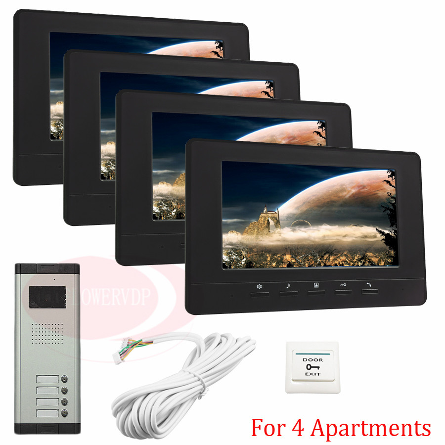For 4 Apartments New Wired 7 TFT Screen Video Door Phone Intercom Entry System With Infared Night Vision In Stock!