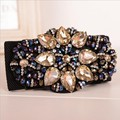 Fashion simple high grade crystal flower gem elastic belts women skirt decoration luxury vintage rhinestone beaded fine belts