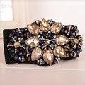 Moda simples de alto grado cristal gema de la flor correas elásticas mujeres falda decoración de lujo de la vendimia rhinestone beaded cinturones finos