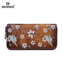 GENMEO Brand New Arrival Genuine Leather Zipper Wallet Women Coin Purse Twitter Flowers Cow Hand Strap Bolsa Feminina