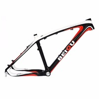 BEIOU 3K Carbon Fiber Mountain Bike Frame 26 Inch Glossy White Red Unibody External Cable Routing