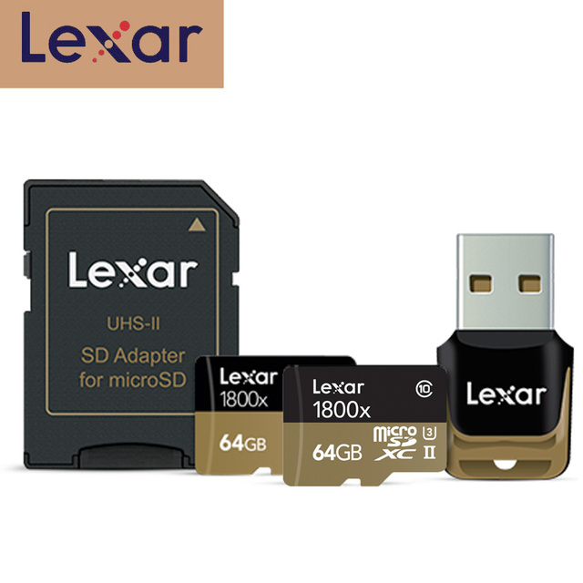 Lexar מיקרו sd כרטיס 270 MB/S 1800x64 GB microsd TF פלאש קורא כרטיסי זיכרון SDXC cartao דה memoria עבור רכב Drone ספורט מצלמת וידאו