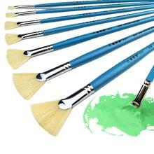 זיפי שיער זנב דג באיכות גבוהה אקריליק צורה מניפה מברשת צבע 12 יחידות אמן ציור שמן נוף ציור מברשות סט מברשת