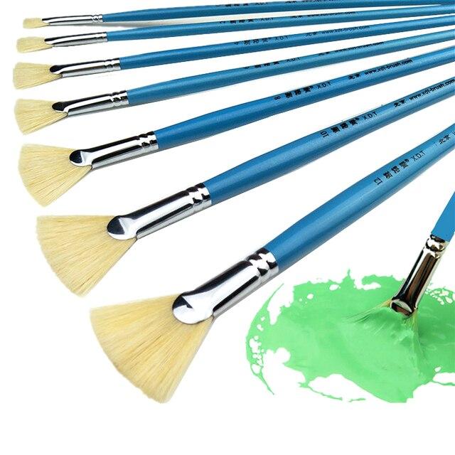 Alta qualidade cerdas de cabelo peixe cauda fã forma pincel pintura 12pcs artista acrílico pincéis pintura a óleo conjunto paisagem desenho escova