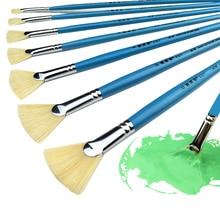 High Quality Bristle Hair Fish Tail Fan Shape Paint Brush 12pcs Artist Acrylic Oil Painting Brushes Set Landscape Drawing Brush