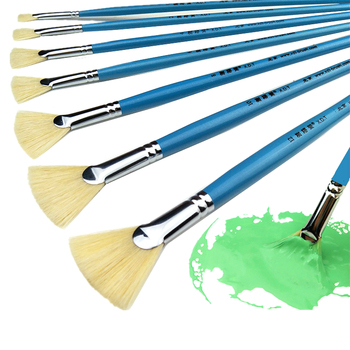 High Quality Bristle Hair Fish Tail Fan Shape Paint Brush 12pcs Artist Acrylic Oil Painting Brushes Set Landscape Drawing Brush high strength 13pcs luxury nylon hair oil painting brush set watercolor landscape fish tail fan type outline paint writing brush