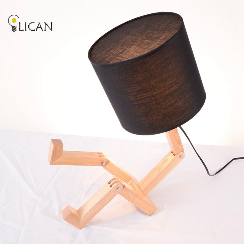 madera moderna lmpara de mesa de madera slida de la vendimia moderna lmpara de escritorio americano
