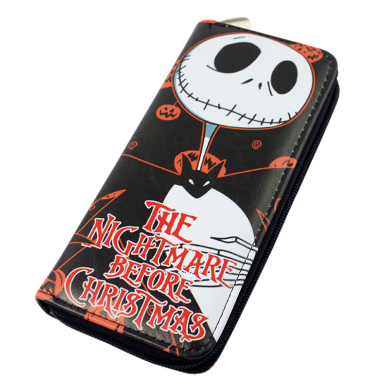 The Nightmare Before Christmas PU Leather Long Wallet Men Wallet Women Anime Purses Coin Purse Women Bag Free Shipping long style pu wallet of the nightmare before christmas skull jack with button and multi layer