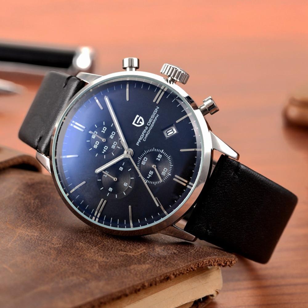 PAGANI DESIGN Original Brand Men Sports Military Quartz Watch Fashion Business Chronograph Leather Wristwatch Relogio Masculino