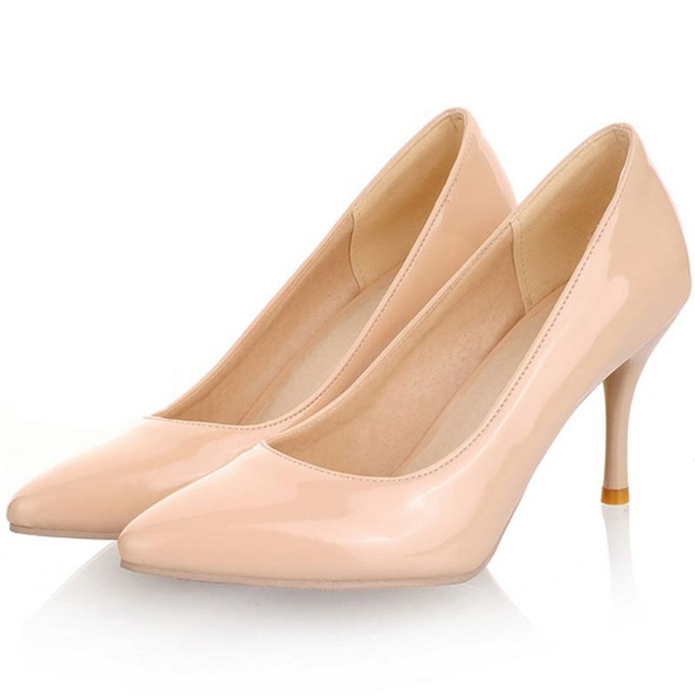 SGESVIER Big Size 30-47 2018 New Fashion High Heels Women Pumps Thin Heel Classic White Red Beige Sexy Prom Wedding Shoes OX175