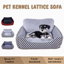 Canvas Plaid Backrest Dog Beds For Large Dogs House Waterproof Chihuahua Bed Small Medium