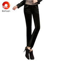 Baiyuan 2017 Fashion Black Leather Capri Pants Spliced For Women Skinny Pencil Pants Casual Leggings Trousers