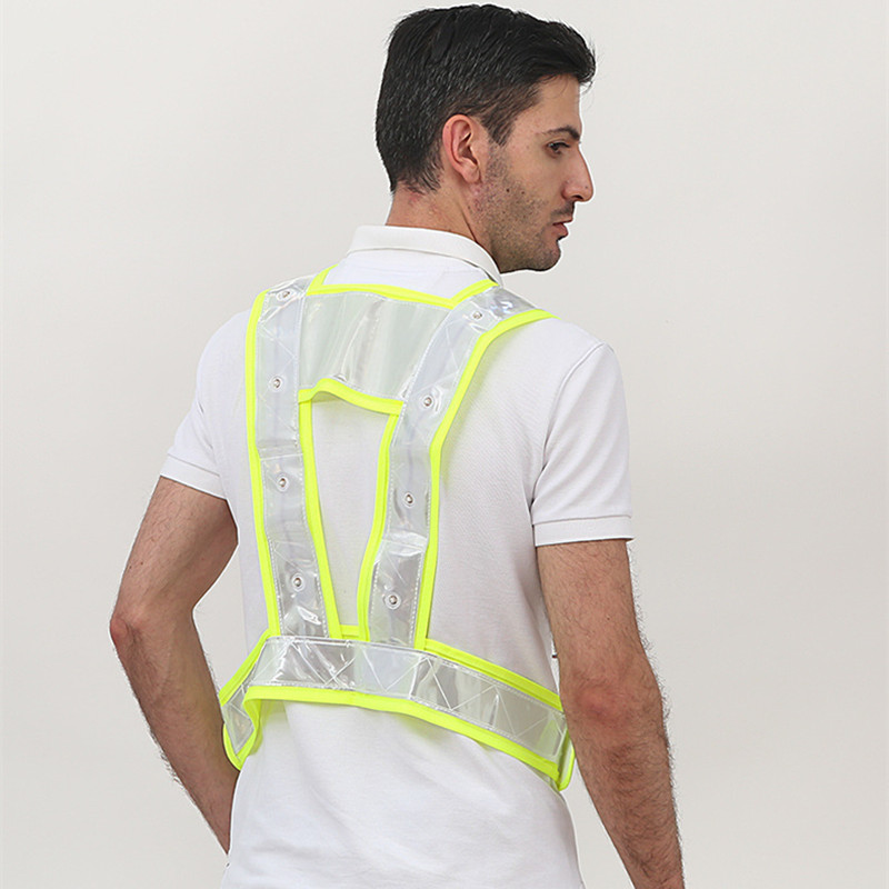 Image 2 - High Visibility LED Light Up Safety Reflective Vest Night Safety Warning Clothing Traffic led Safety Vest Reflective t shirt-in Safety Clothing from Security & Protection