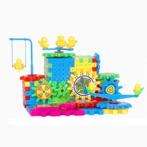 Image 4 - QWZ 81 PCS Electric Gears 3D Model Building Kits Plastic Brick Blocks Educational Toys For Kids Children Gifts