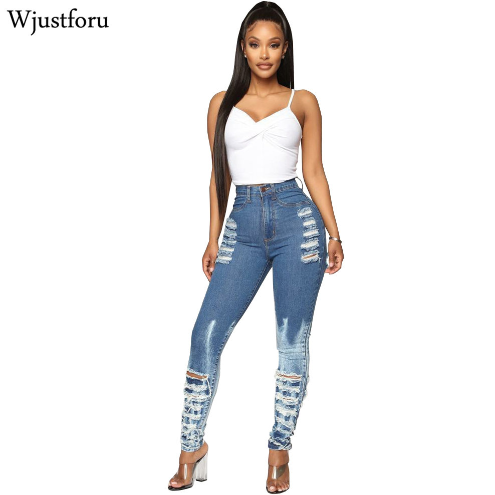 Wjustforu Tight Ripped Jeans Pants Women Bodycon Casual Hole Pencil Denim Pants Female Whitening Pleated Elegants Club Jeans
