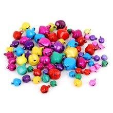 Cloches de noël suspendues en fer, 50 à 300 pièces, 6/8/10/12/14mm, pendentifs, ornements d'arbre de noël