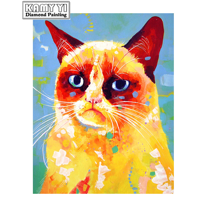 100% Full 5D Diy Square/Round Diamond Sluggish cat 3D Diamond Painting Rhinestones Paintings Embroidery D1