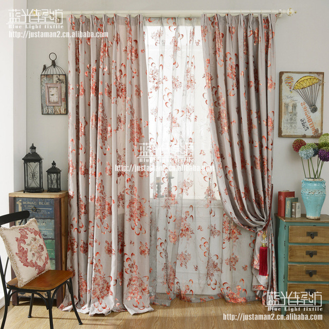 European gorgeous curtain fabric fancy flower cloth curtains ...