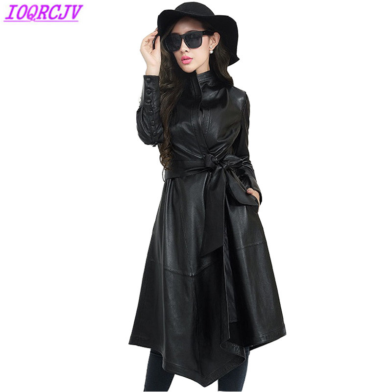Leather   jacket for women 2018 autumn winter Irregular   leather   clothing Sheep skin long coat Plus size Windbreaker IOQRCJV H334