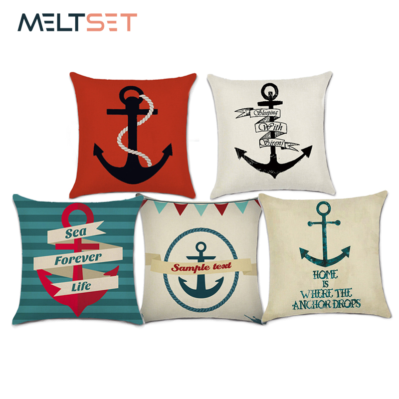 Boat Anchor Cushion Cover Linen Home Decorative Pillow Cover Marine Ship Throw Pillow Case Decorative Pillowcase