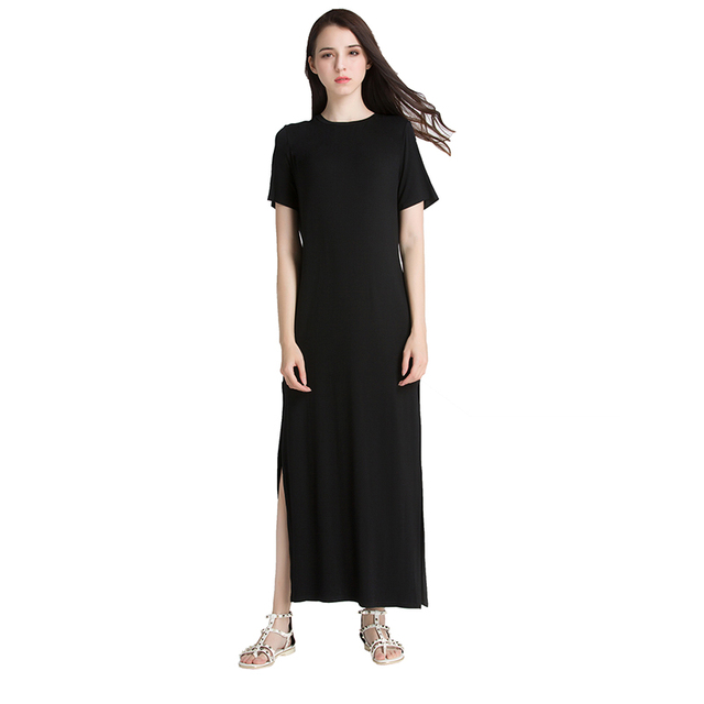 Zwarte maxi jurk korte mouw