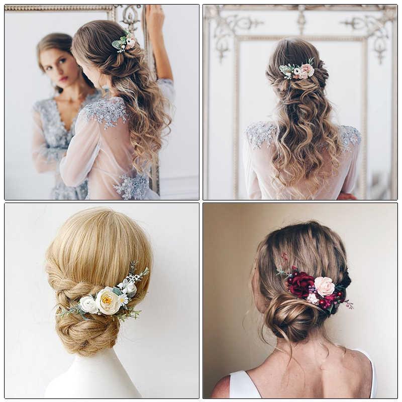 Haimeikang розовая ткань гребень для волос ручной работы Свадебный гребень для волос для невесты цветок головной убор пляж свадебные аксессуары для волос для женщин