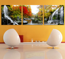 3 paintings /scenic diamond embroidery hand room 5d diy diamond painting nursery wall art cross stitch landscape Waterfall(China)