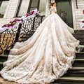 Wedding Dress 2017 Bridal Real Luxury Ball Gown Cathedral/royal Train Vintage 3/4 Sleeve Sexy Bride Gowns Dresses