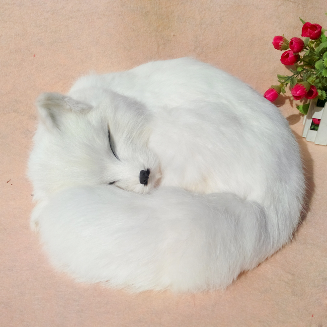 simulation white fox large 27x27 cm furry fur sleeping fox model desk decoration gift h1327 large 30x20x15cm simulation white cat miaow sounds furry fur hard model home decoration christmas gift h1168