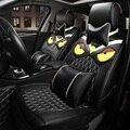 Luxo Personalidade Coruja Bordado Assento de Carro Geral Abrange Genuine PU Couro Auto Almofada 10 pcs Conjuntos-Preto