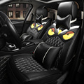 Luxury Personality Embroidered Owl General Car Seat Covers Genuine PU Leather Auto Cushion 10pcs Sets - Black