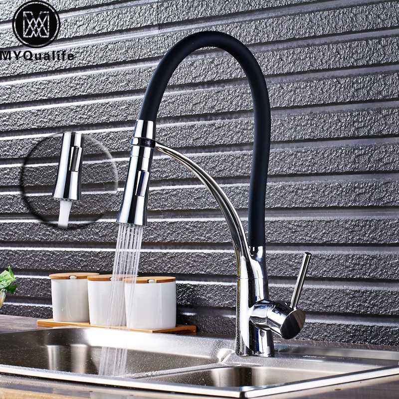 Polished Chrome Kitchen Sink Faucet Swivel Pull Down Spout Kitchen Sink Tap Deck Mounted Bathroom Hot and Cold Water Mixers kitchen faucet polished chrome water power kitchen faucet swivel spout pull down vessel sink mixer tap