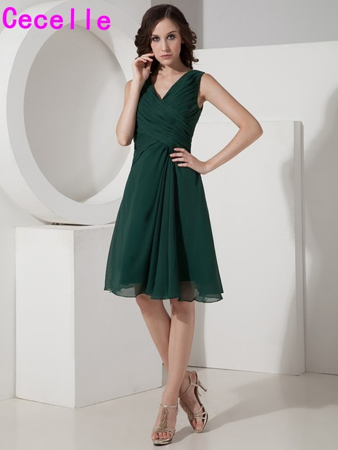 abc70dab8535 Dark Green Short Knee Length Simple Chiffon Bridesmaids Dresses Ruched V  Neck Sleeveless Girls Brides Maids