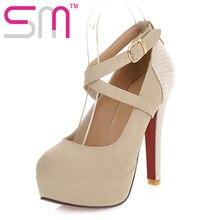 2017 Big size 32-43 Design Women Pumps Gladiator Ankle Straps High Heels Wedding Shoes Hidden Platform Women Pumps Shoes High