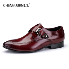 Men natrual genuine Leather business shoes for mens flats buckle point toe black Casual Leather men Shoe party wedding Shoes