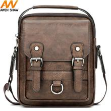 Awen Shaw Vintage Leather Bags For Men With Double Strap Decor Luxury Mens Crossbody Bags Classic Leather Shoulder bag Handbags awen shaw vintage oxford patchwork leather mens shoulder bag handbag classic durable travel crossbody bags for men