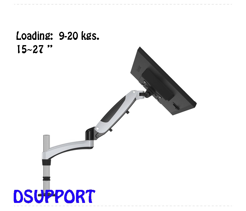 Aluminum Alloy Gas Spring Full Motion Desktop 15-27 LCD LED Monitor Holder Arm All-in-one PC Mount Bracket Loading 9-20kgs