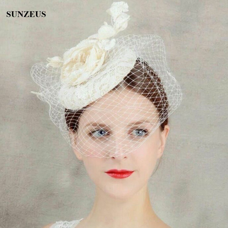 Hand-made Lace Bridal Hats With Short Veil Linen Wedding Hats Headwear With Flowers SQ211