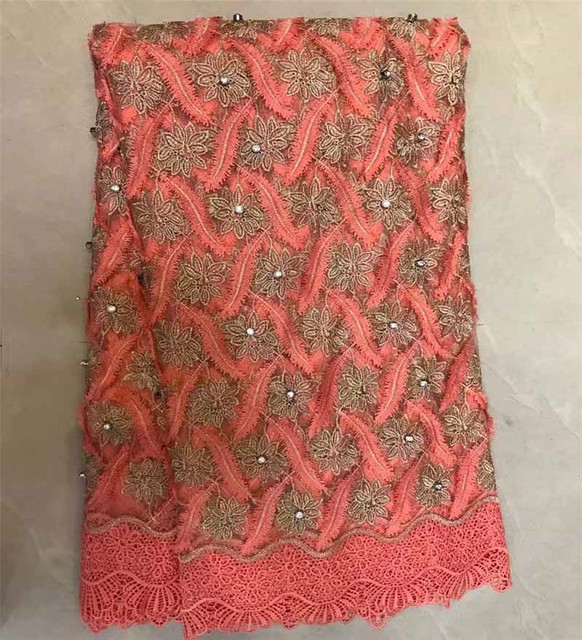 Peach African French Lace Fabric 2018 High Quality Nigerian French Net Lace Handmade With Nice Big Stones For Women DressZQ2-1