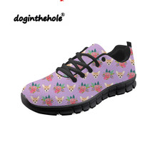 Doginthehole Chihuahua Florals Pattern Women Sneakers Mesh Breathable Sports Shoes Anti-skid Female Outdoor Flats Walking