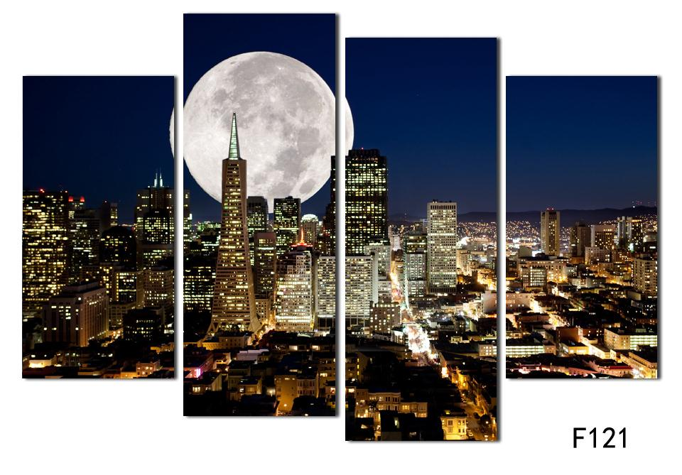Fashion HD Large Canvas Painting 4 Panels Home Decor Wall Art Picture  Prints Of NewYork City Night View Artwork F121 In Painting U0026 Calligraphy  From Home ...