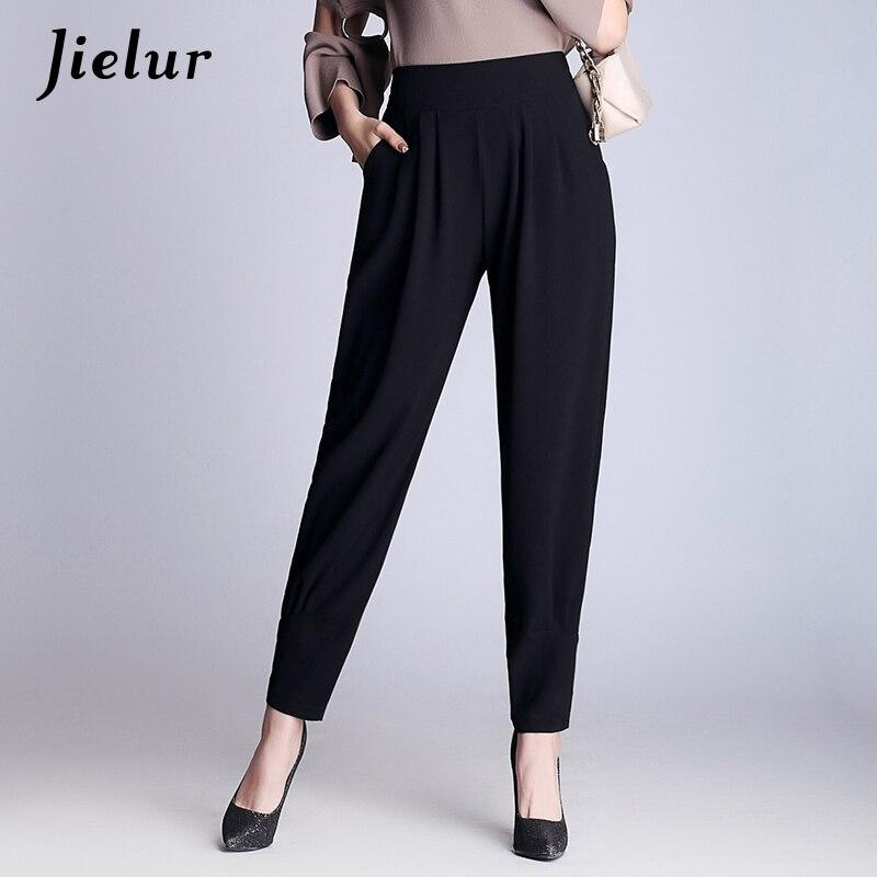 Jielur Autumn Spring Casual Loose Harem   Pants   Plus Size M-4XL Chiffon Leisure Black Trousers for Women Ladies   Wide     Leg     Pants