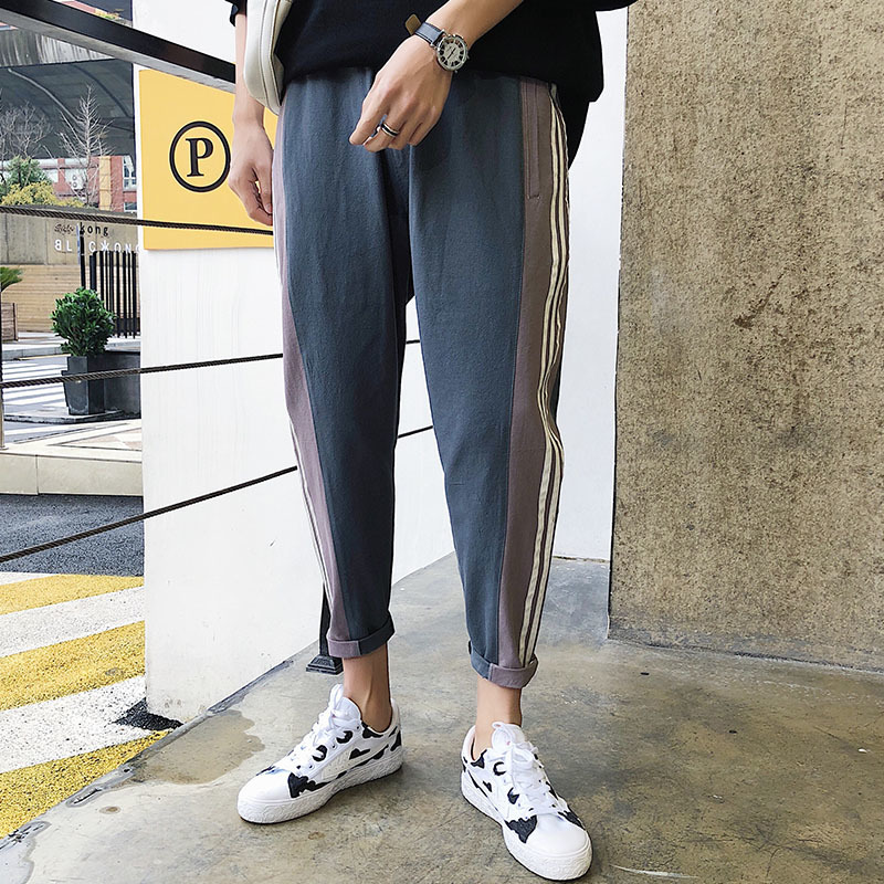 2018 Summer New Pattern Large Code P10 Man Nine Part Pants casual straight foot personality lapel city boy fashion letter