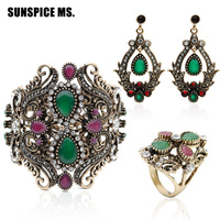 Hot Bangle Earring Ring 3pcs Jewelry Sets Turkish Vintage Resin Jewelry Antique Gold Color Indian Women