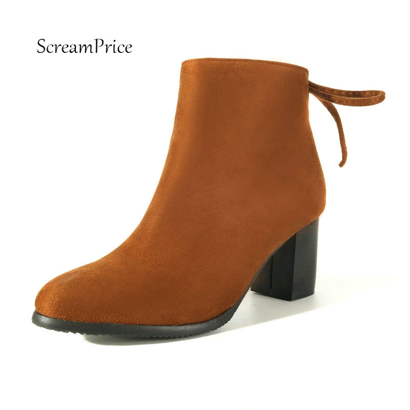 Women Faux SuedeThin High Heel Ankle Boots Fashion Sexy Pointed Toe Side Zipper Winter Warm Shoes Woman Black Red Blue Brown compatible chip for oki b430 mb460 mb470 laser printer reset toner cartridge chip