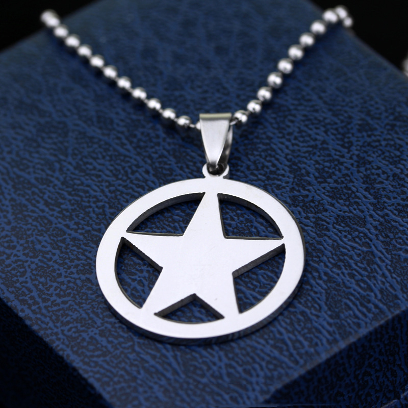 Captain America Necklace The Avengers Rotatable Pendant Fashion Stainless Steel Chain Necklaces Gift Jewelry Accessories NL066