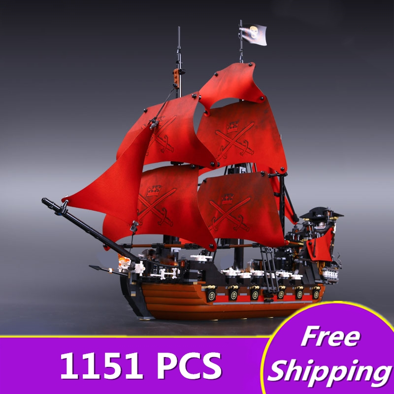 New legon 16009 1151pcs Queen Anne's revenge Pirates of the Caribbean Building Blocks Set Compatible with Children DIY gift 1717pcs new 22001 pirates of the caribbean imperial flagship diy model building blocks big toys compatible with lego