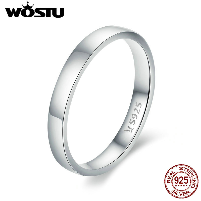 WOSTU Solid Pure 925 Sterling Silver Simple Finger Ring for Women High Polished Classic Band Rings Wedding Jewelry Gift CQR343 jewelrypalace classic wedding solitaire ring for women pure 925 sterling silver simple wedding jewelry fashion gift